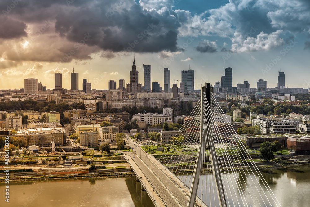 City of Warsaw skyline behind the bridge, Poland