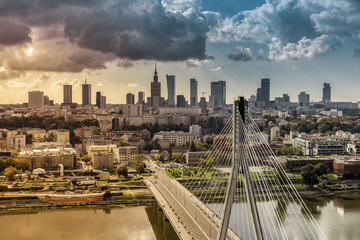 Fototapeta samoprzylepna City of Warsaw skyline behind the bridge, Poland