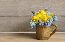 Bouquet Of Daffodils And Blue Muscari (Grape Hyacinth)