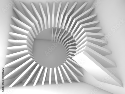 Abstract white empty room interior with 3d helix #80619217