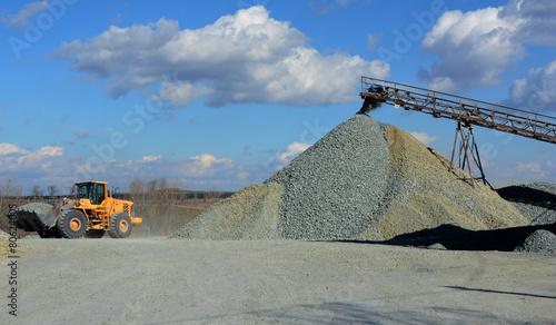 Photo big yellow mining truck