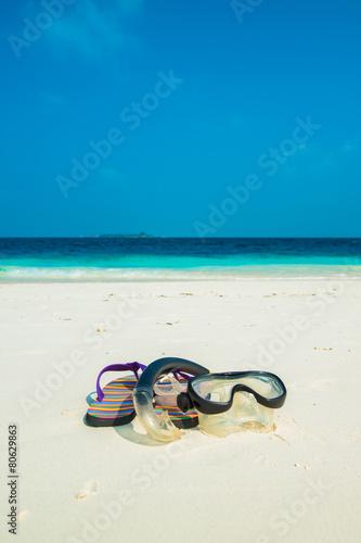 Sand beach and ocean wave, South Male Atoll. Maldives Canvas Print