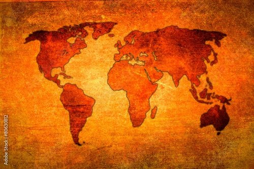 Türaufkleber Weltkarte World map paint design art