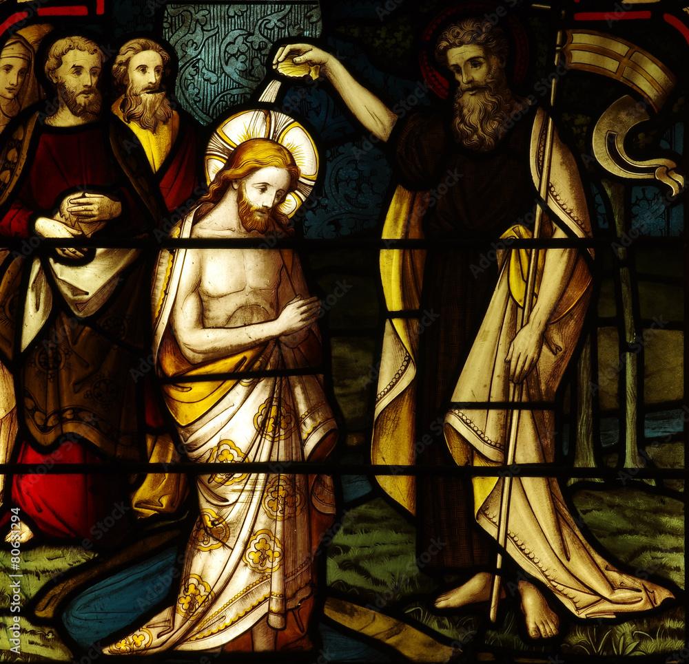 Die Taufe Von Jesus In Der Glasmalerei Foto Poster