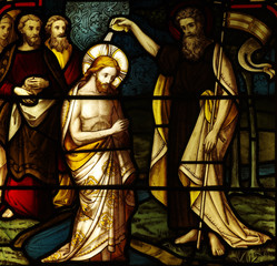 Obraz na Szkle Baptism of Jesus in stained glass