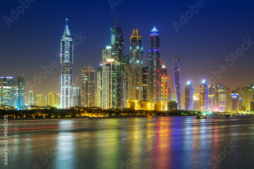 Poster Violet Cityscape of Dubai at night, United Arab Emirates