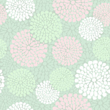 Beautiful Floral Pattern In Pink And Mint Color, Vector