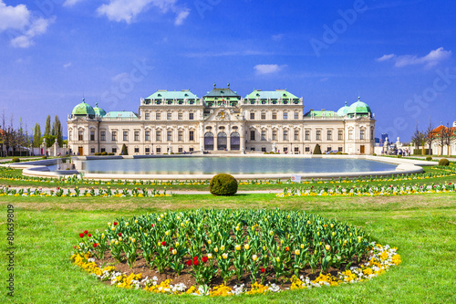 In de dag Wenen Belvedere palace ,Vienna Austria ,with beautiful floral garden