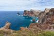 Coastline of Madeira with high cliffs along the Atlantic Ocean
