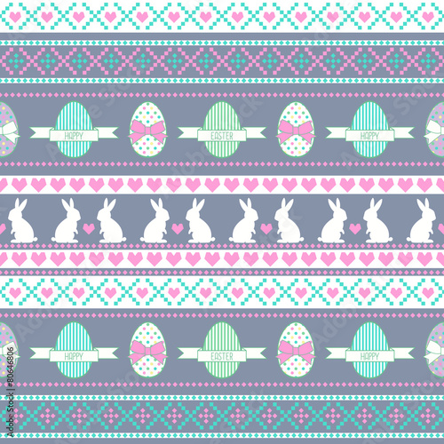 Cotton fabric Easter pattern. Background with Bunny, eggs