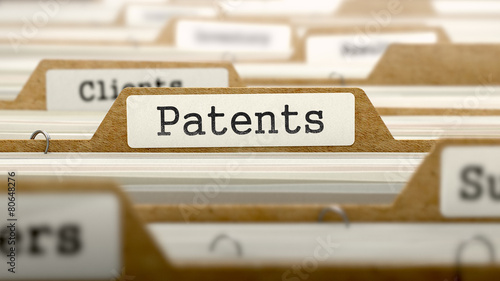 Patents Concept with Word on Folder. Canvas Print