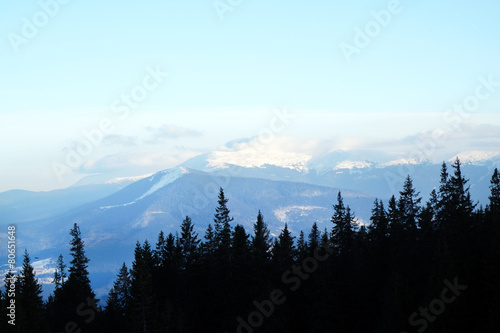 Aluminium Prints Wonderful view of mountains with blue sky