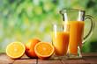 Glass and pitcher of orange juice