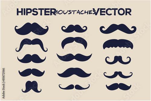 Carta da parati Fashion hipster moustaches vector style