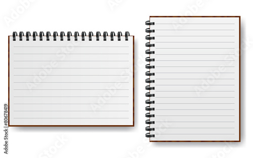 Obraz Notebook with spiral line realistic paper vector illustration - fototapety do salonu
