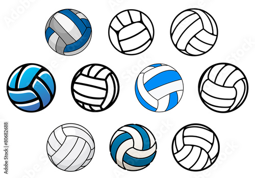 Fotografía Volleyball balls in outline and cartoon style