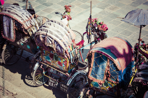 Fotografie, Tablou Rickshaw is a very popular type of public transport in cities in