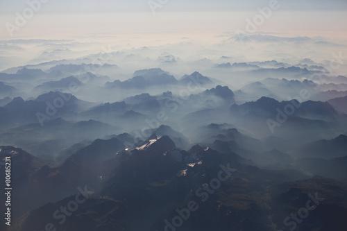 Poster Gris Mountains bird's-eye view