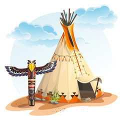 Naklejka North American Indian tipi home with totem