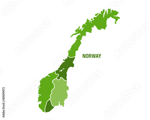 Norge map in green color Tapéta, Fotótapéta