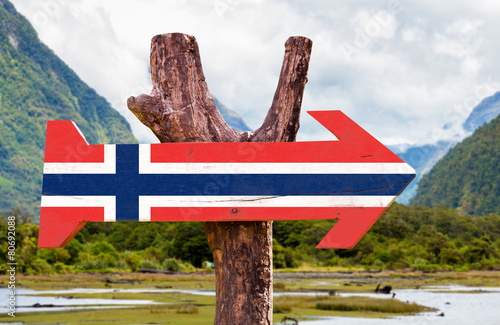 Poster Afrique du Sud Norway Flag wooden sign with mountains background