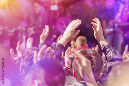 Fotografie, Obraz  Fans Applauding To Music Band Live Performing on Stage