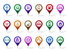 Colorful Set Of Location, Travel And Destination Pin Icons