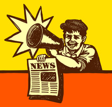 Vintage Newspaper Boy Shouting Latest News With Megaphone
