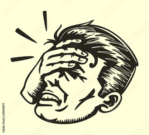 Cuadros en Lienzo Face palm, retro disappointed man slapping forehead