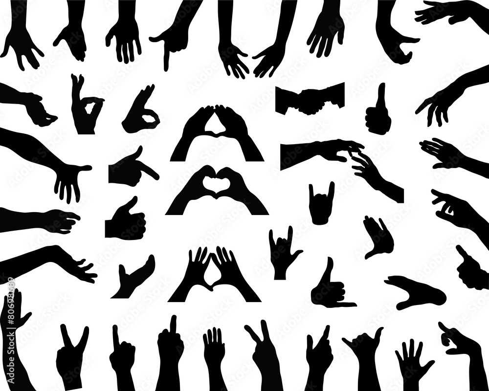 Fototapeta Silhouettes of hands, vector