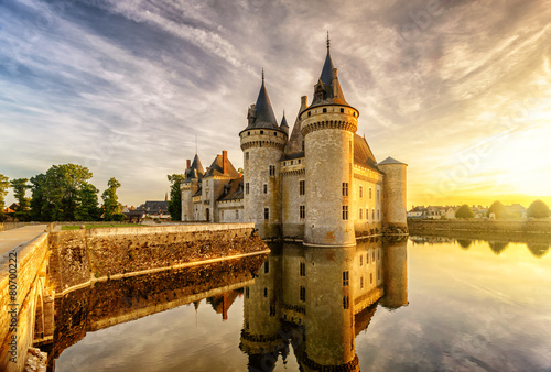 Foto op Plexiglas Kasteel The chateau (castle) of Sully-sur-Loire at sunset, France