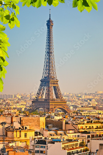 Staande foto Athene View on Eiffel tower at sunset