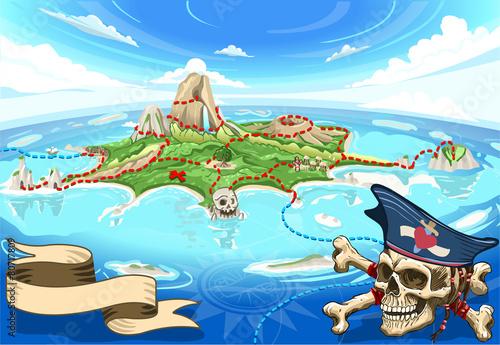 Zdjęcie XXL Pirate Cove Island - Treasure Map