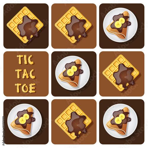 Fotografía  Tic-Tac-Toe of crepe and waffle