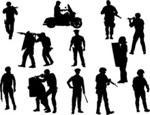 The Set 0f 12 Vector Policeman Silhouette