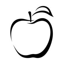 Apple. Vector Black Contour.