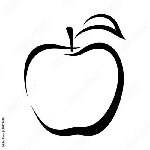 Fotografía Apple. Vector black contour.