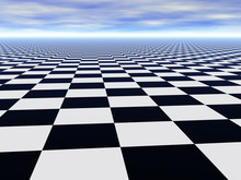 Abstract Infinite Chess Floor And Cloudy Sky