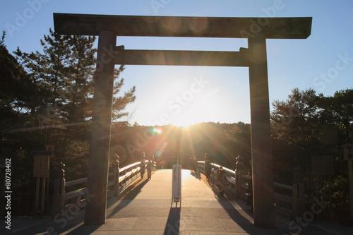 Cadres-photo bureau Edifice religieux 伊勢神宮内宮 宇治橋の鳥居(日の出)