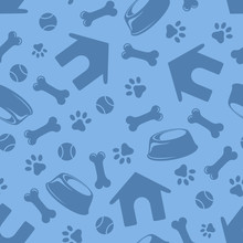 Seamless Blue Pattern With Dog...