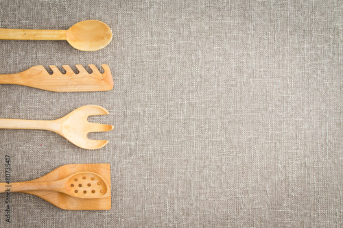Fotografie, Obraz  Wooden kitchen utensils for cooks