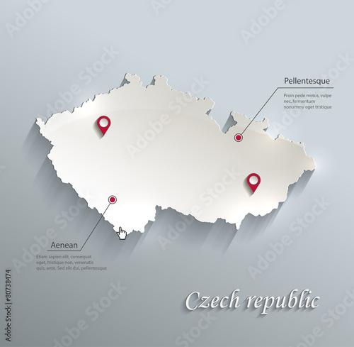 Czech map blue white card paper 3D vector infographics vector Canvas Print