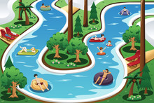 People Floating In A Lazy River Pool