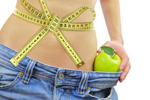 Woman's Fit Belly With Measuring Tape,apple And Oversized Jeans