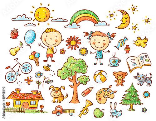 doodle-zestaw-obiektow-z-zycia-dziecka