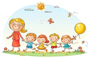 Fototapeta samoprzylepna Cartoon Kids and their Teacher Outdoors
