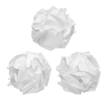 Crumpled Paper Balls Isolated ...