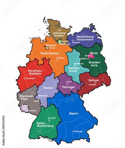 Deutschlandkarte Mit Bundeslandern Hauptstadten Und Flussen لم