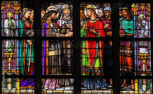 Fotografie, Obraz  Stained Glass of the Sacrament of Marriage or Holy Matrimony