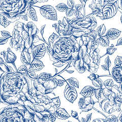 Fototapeta Seamless pattern with roses.